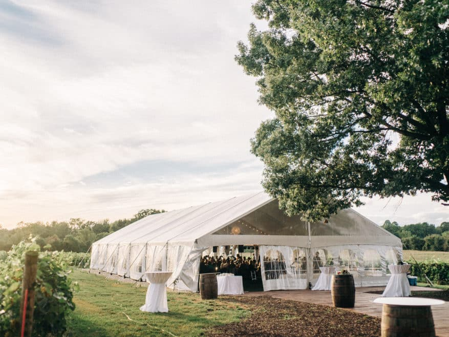 outdoor wedding venues vineyard tent