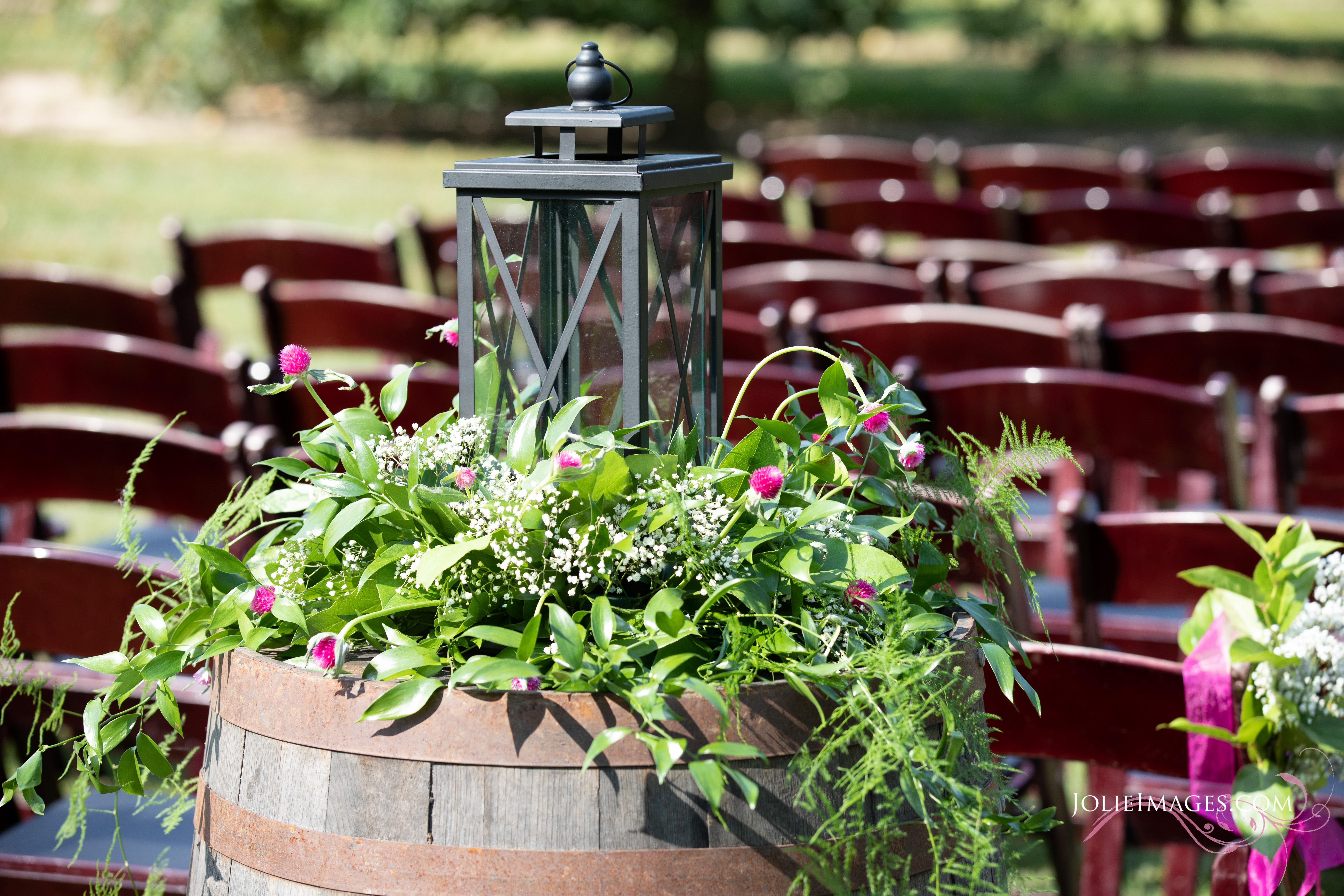 black lantern on wine barrel