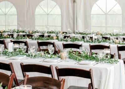 long tables at wedding