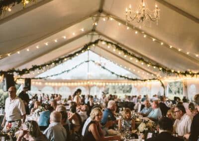 greenery in wedding tent