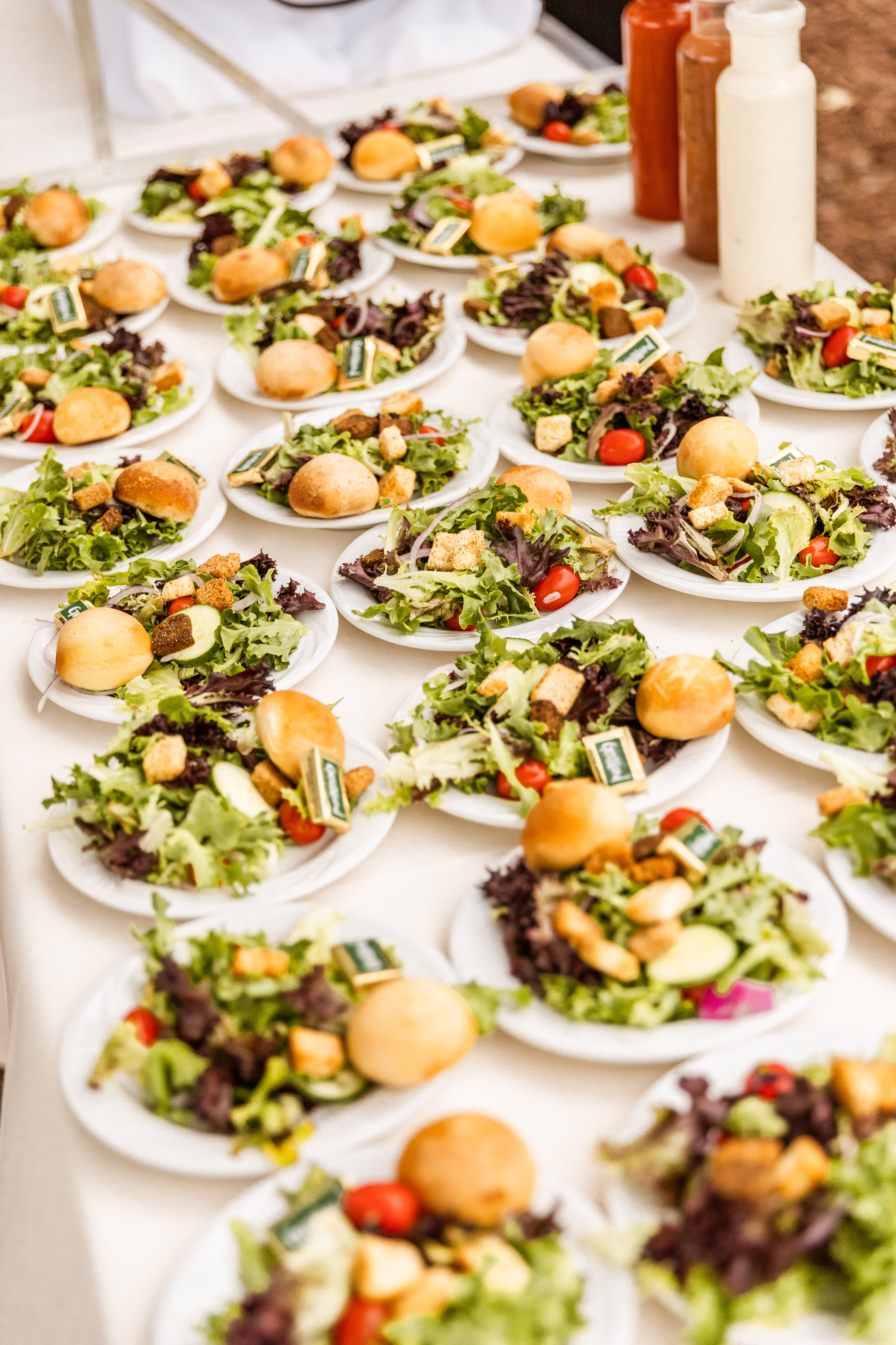 plated guest salads