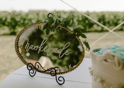 mask sign at wedding