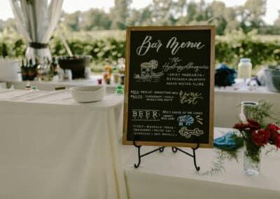 wedding bar menu sign