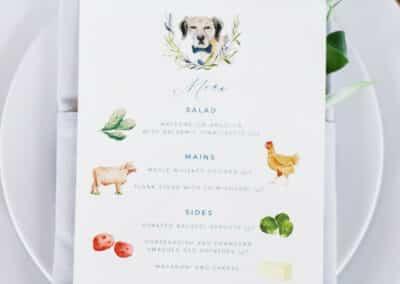 dog on wedding menu