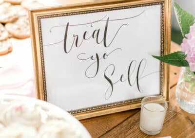 sign for dessert table