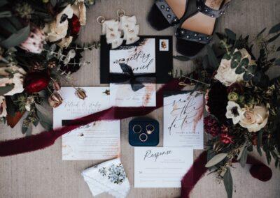 dark wedding stationary