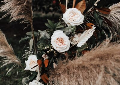 pampas grass with roses