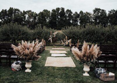 fall boho wedding ceremony